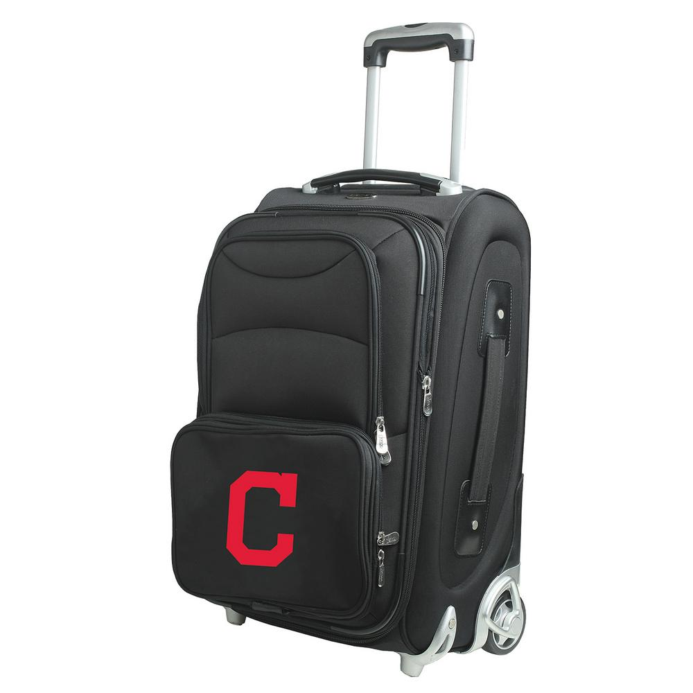 DENCO MLB Cleveland Indians 21 in. Black Carry-On Rolling...