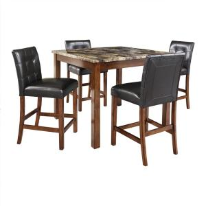 Laurel Transitional 5 Piece Black And Brown Counter Height Dining Set With Faux Marble Table Top