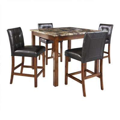 Laurel Transitional 5 Piece Black And Brown Counter Height Dining Set With  Faux Marble Table