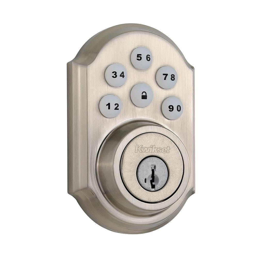 Kwikset SmartCode Satin Nickel Single Cylinder Electronic Deadbolt for Wink HUB Featuring SmartKey Security