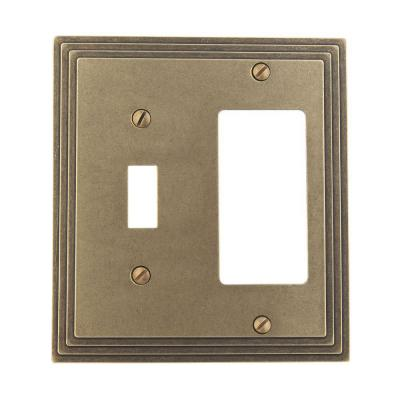 Tiered 2 Gang 1-Toggle and 1-Rocker Metal Wall Plate - Rustic Brass