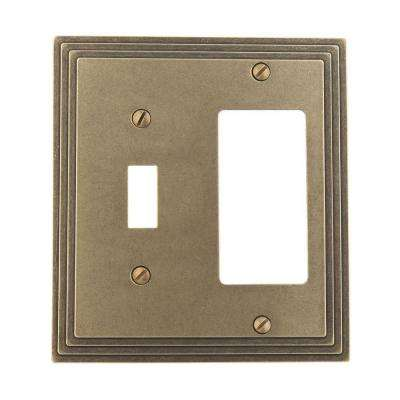 Steps 1 Toggle 1 Decora Switch Wall Plate - Rustic Brass