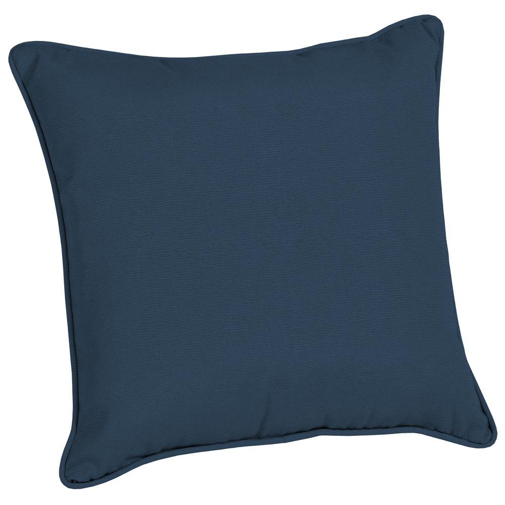 Acrylic 20 in. Indigo Linen Outdoor Throw Pillow