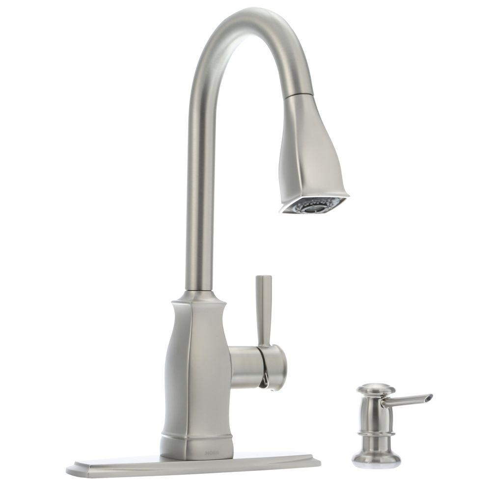 MOEN Hensley Single Handle Pull Down Sprayer Kitchen Faucet with #1: spot resist stainless moen pull down faucets msrs 64 1000