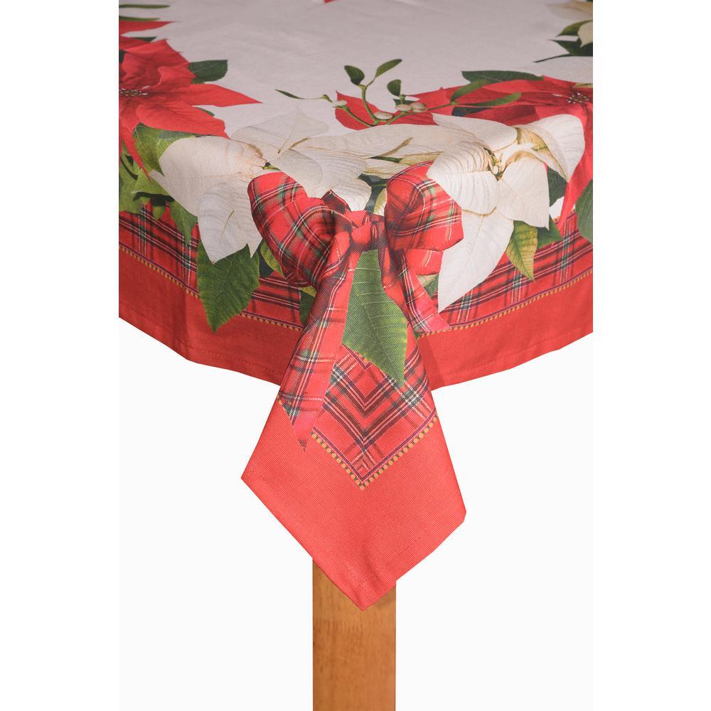 Poinsettia Tartan 60 in. x 84 in. 80% Cotton 20% Polyester Tablecloth