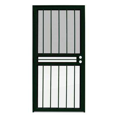 36 in. x 80 in. Paladin Forest Green Recessed Mount All Season Security Door with Insect Screen and Glass Inserts