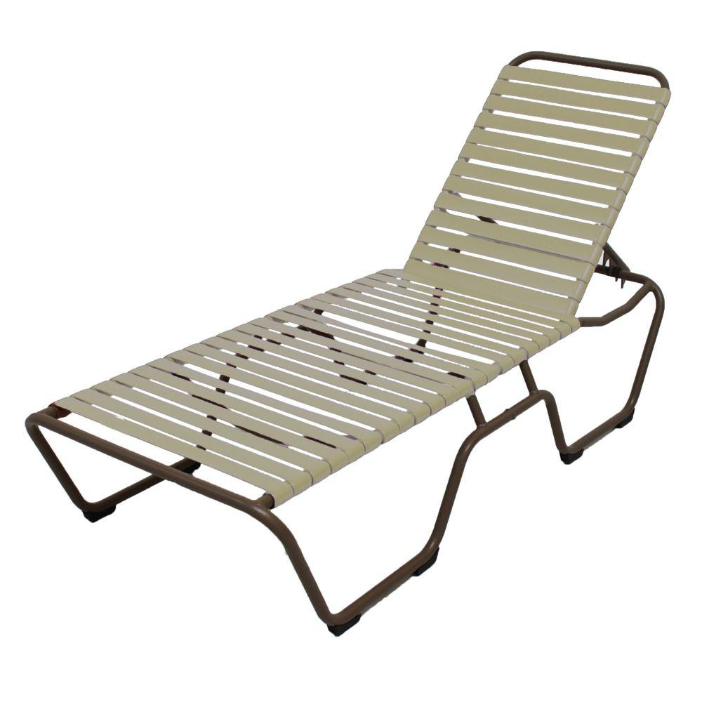 Marco Island Brownstone Commercial Grade Aluminum Patio Chaise Lounge With Putty Vinyl Straps 2
