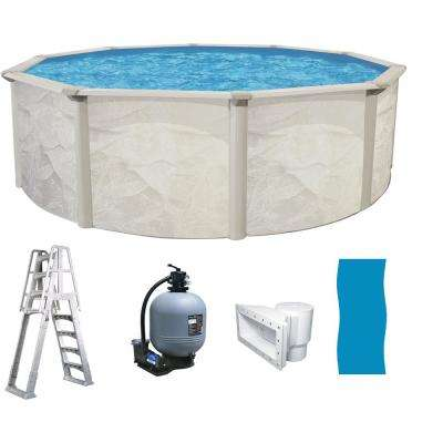 27 ft. Round 52 in. Deep Metal Wall 6 in. Steel Uprights Above Ground Swimming Pool Package with Safety Ladder
