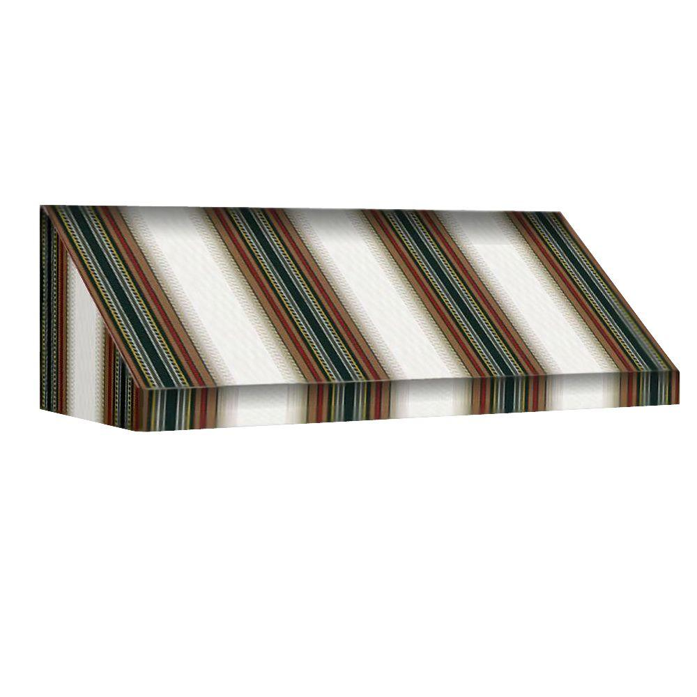 AWNTECH 10.375 ft. New Yorker Window/Entry Awning (24 in. H x 42 in. D) in Burgundy/Forest/Tan Stripe