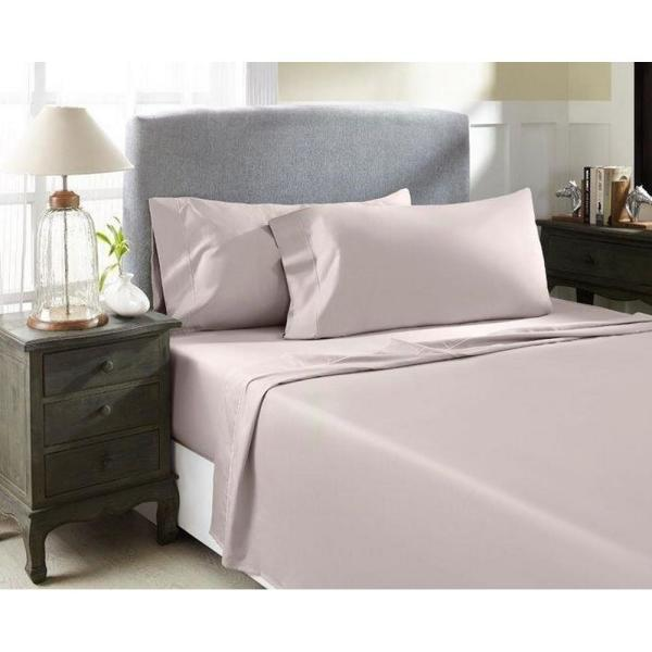 CASTLE HILL LONDON Rose Solid Combed Cotton Sateen King Sheet Set