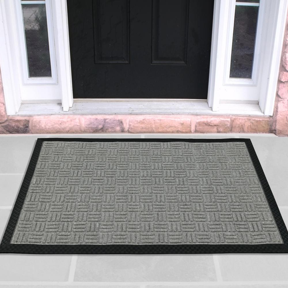 Silver 24 in. x 36 in. Loop Carpet Natural Rubber Door Mat