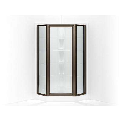 Intrigue 27-9/16 in. x 72 in. Neo-Angle Shower Door in Deep Bronze with Handle