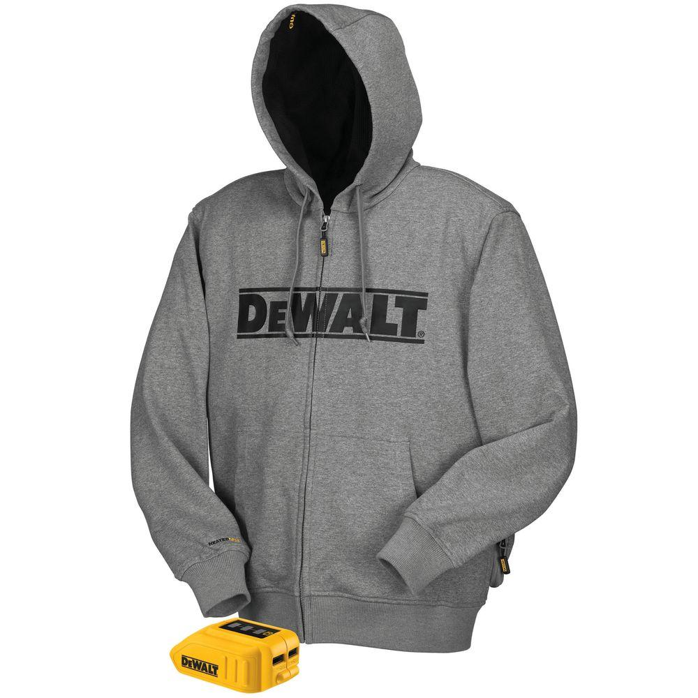 Unisex Large Gray 20-Volt/12-Volt MAX Heated Hoodie