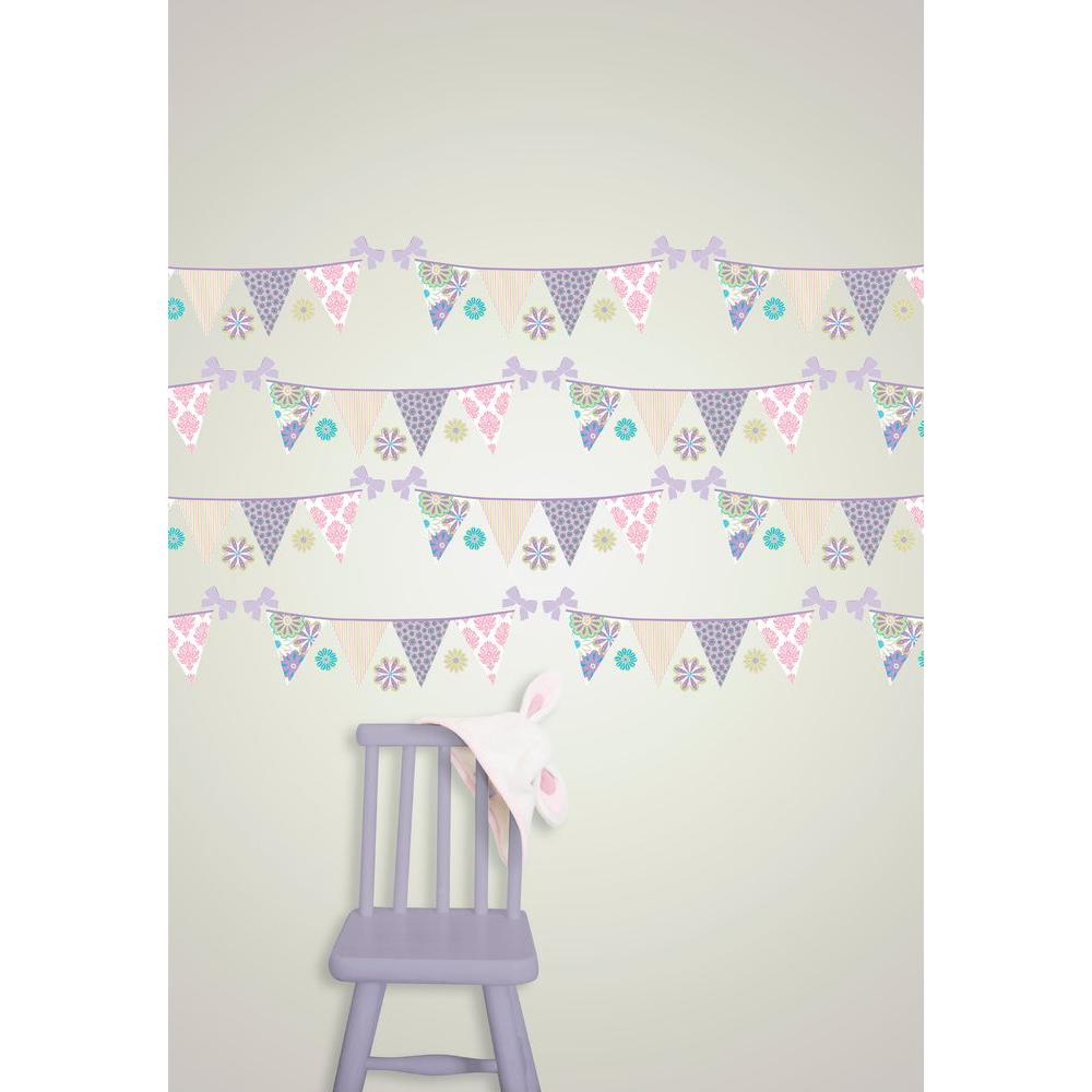 2.06 in. x 2.06 in. Patchwork Daisy Stripes Wall Decal