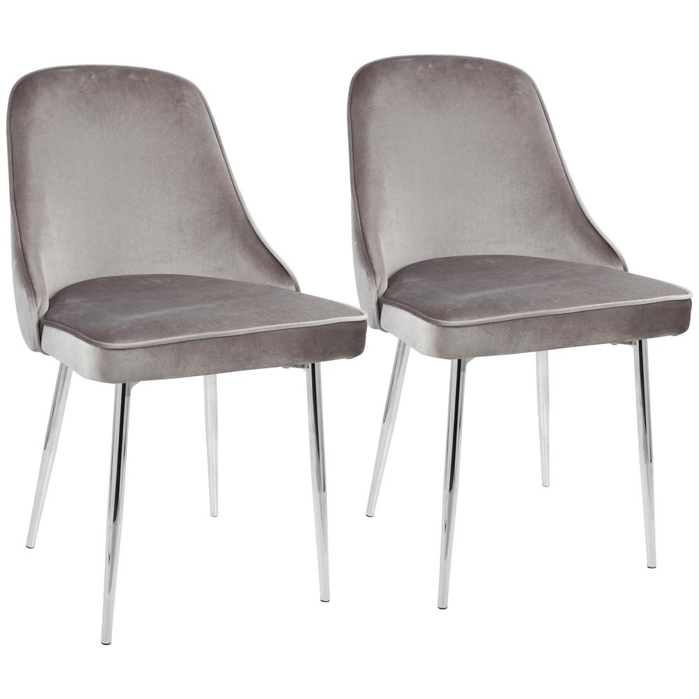 LumiSource Chrome And Silver Marcel Velvet Dining Chair (Set Of 2)