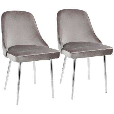 Chrome and Silver Marcel Velvet Dining Chair (Set of 2)