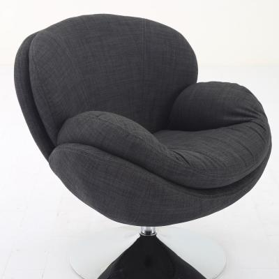 Comfy Grey Upholstered Swivel Scoop Chair