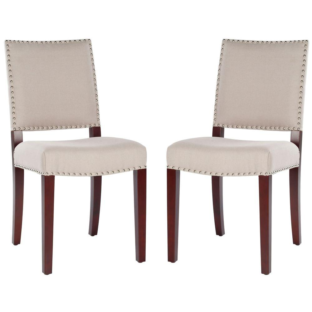 Safavieh James Taupe/Cherry Mahogany Linen Side Chair (Set of 2)
