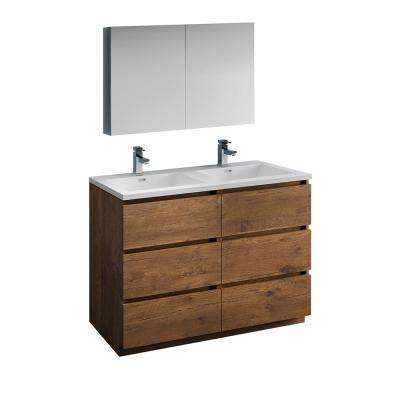 Lazzaro 48 in. Modern Double Bathroom Vanity in Rosewood with Vanity Top in White with White Basins and Medicine Cabinet