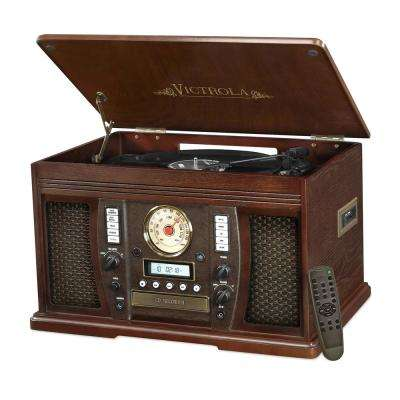 Wood 7-in-1 Nostalgic Bluetooth Record Player with CD Encoding and 3-Speed Turntable in Espresso