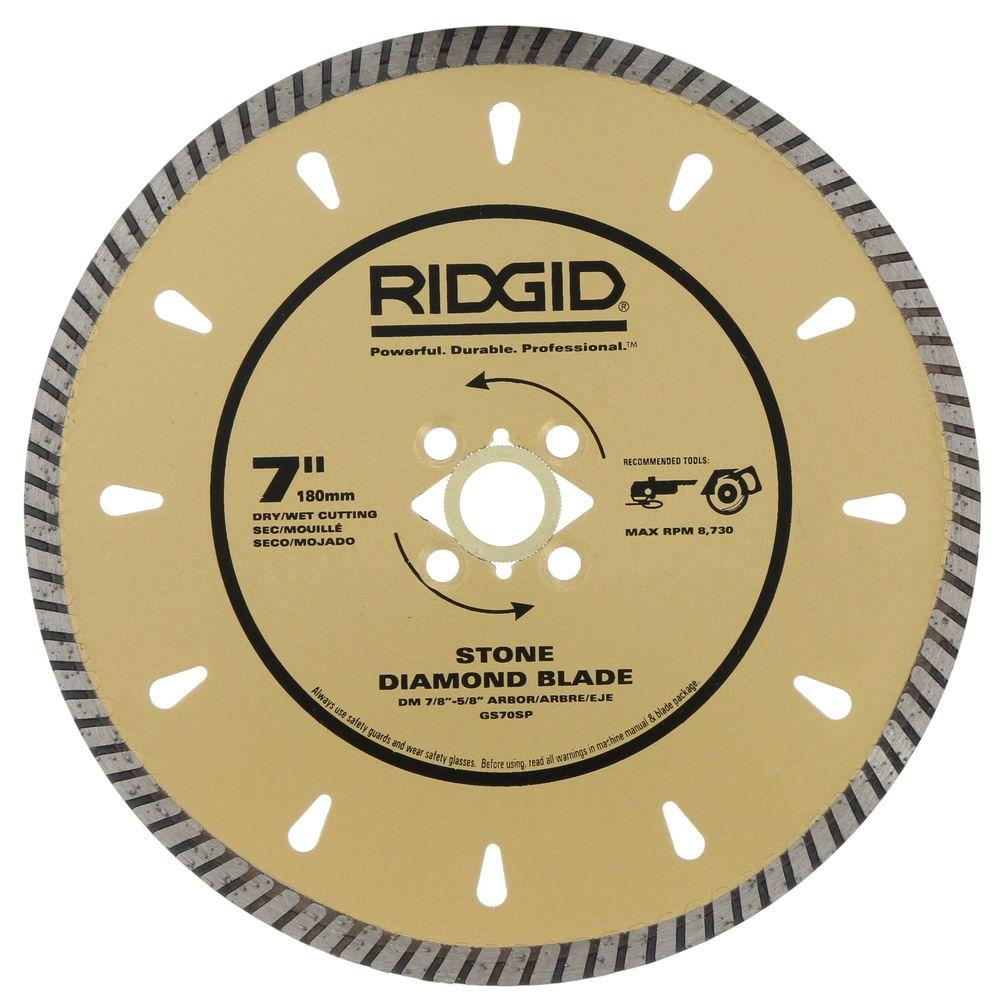 RIDGID 7 in. Diamond Stone Blade for Cutting Granite, Marble and Hard Stone