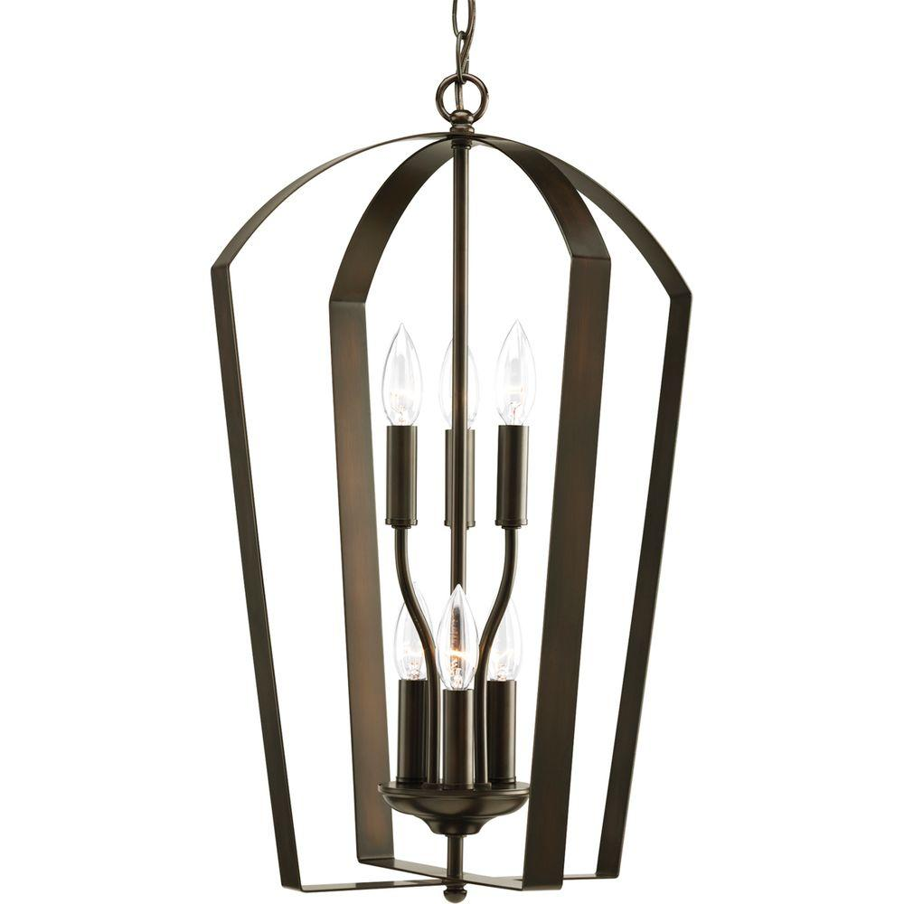 Foyer Pendant Lighting Bronze : Progress lighting gather collection light antique bronze