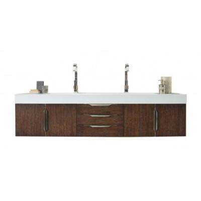 Mercer Island 72 in. W Double Vanity in Coffee Oak with Solid Surface Vanity Top in White with White Basin