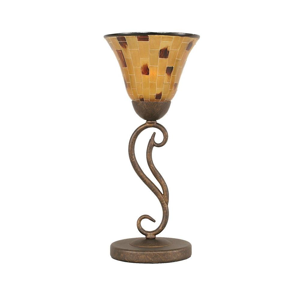 Concord 16.5 in. Bronze Lamp with Penshell Resin Shade