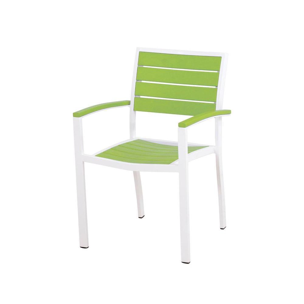 POLYWOOD Euro Satin White/Lime Patio Dining Arm Chair