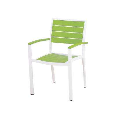 Euro Satin White/Lime Patio Dining Arm Chair