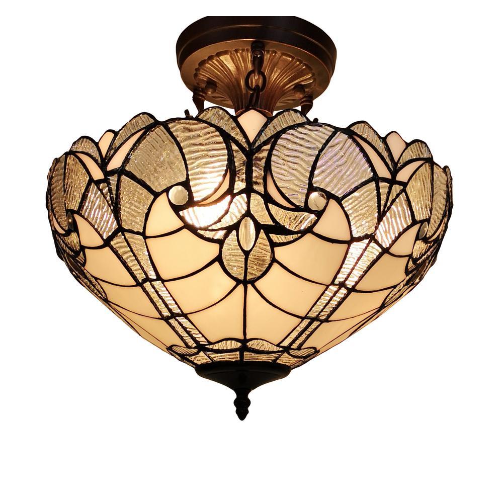 16 in. Tiffany Style 2-Light White Pendant Lamp