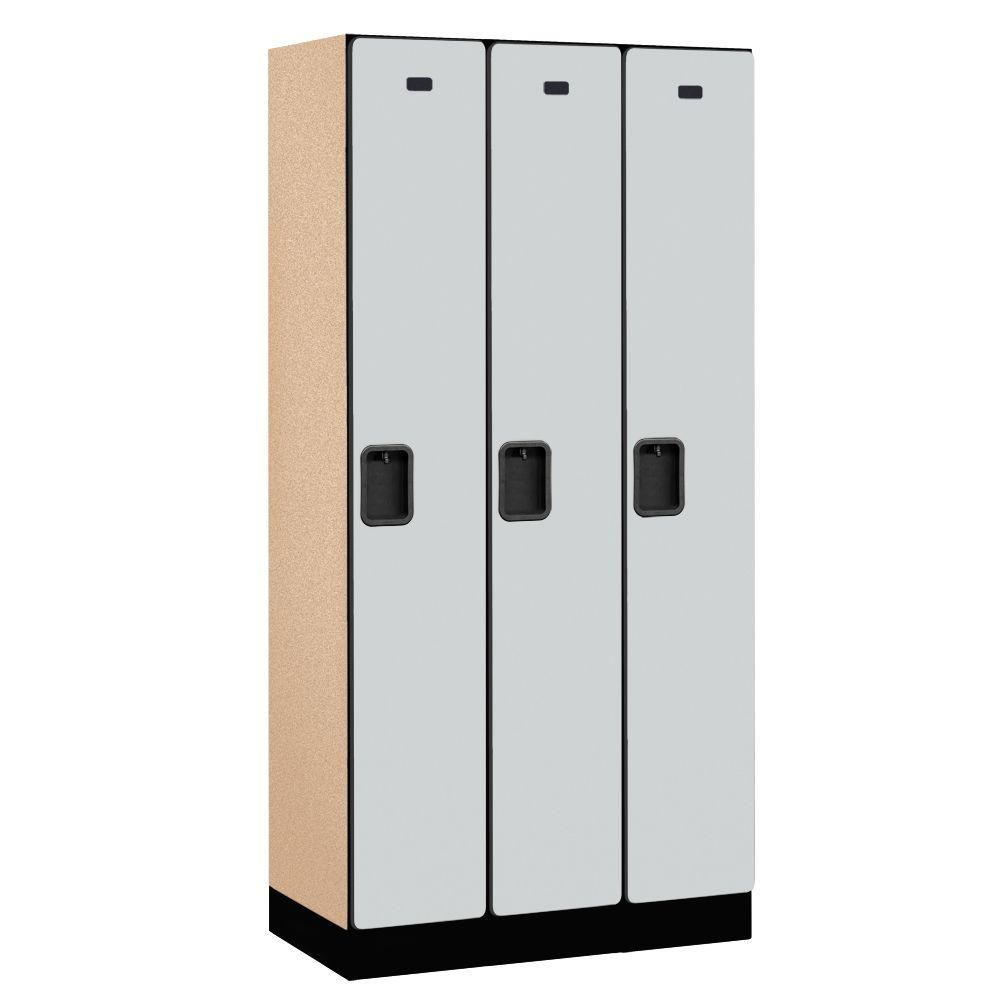 Salsbury Industries 31000 Series 36 in. W x 76 in. H x 18 in. D Single Tier Designer Wood Locker in Gray
