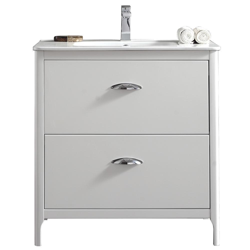 Scarlett 32 in. W Vanity in White with Ceramic Vanity Top in White with White Basin