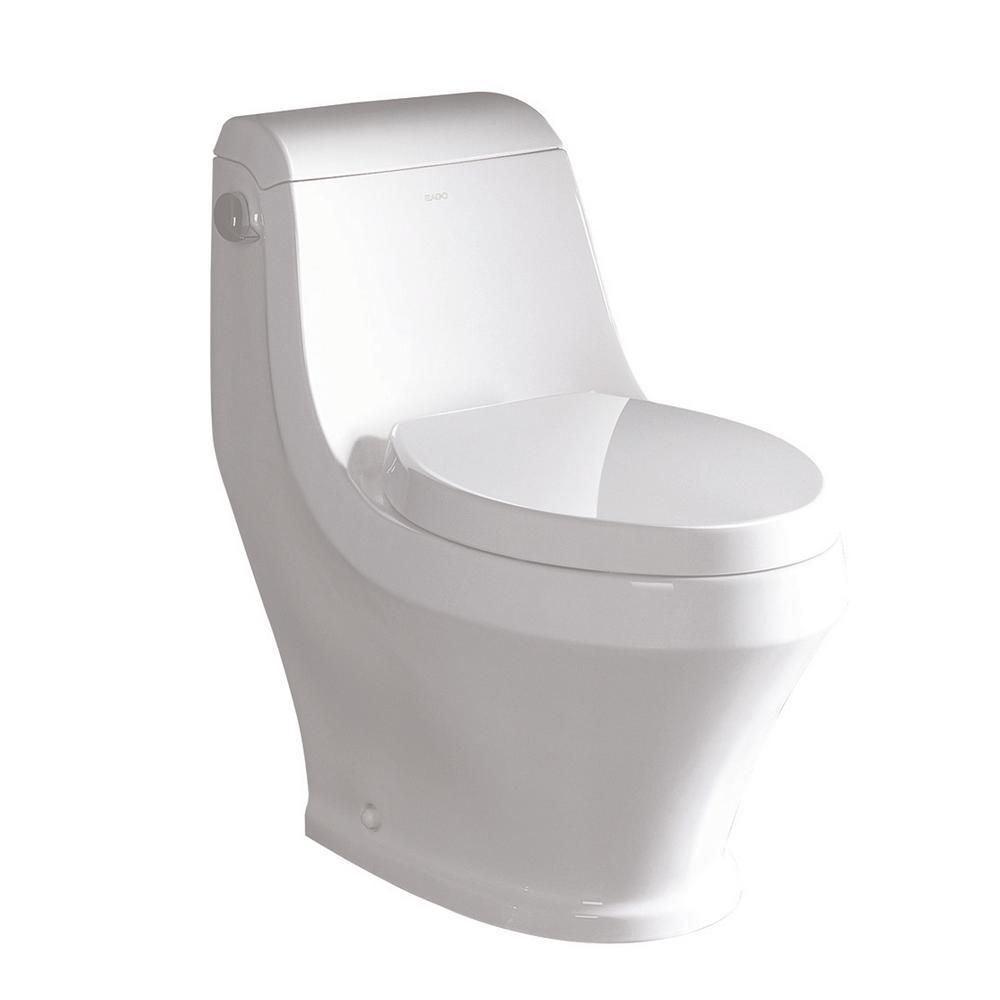 EAGO 1-Piece 1.28 GPF Single Flush Elongated Toilet in White