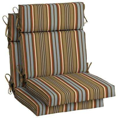 Southwest Toffee Stripe High Back Outdoor Dining Chair Cushion (2-Pack)