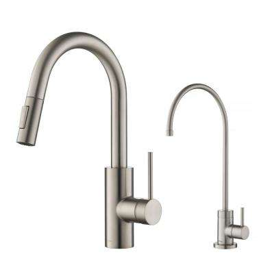 Oletto 1-Handle Pull-Down Kitchen Faucet and Purita Water Filtration Faucet Faucet in Spot Free Stainless Steel