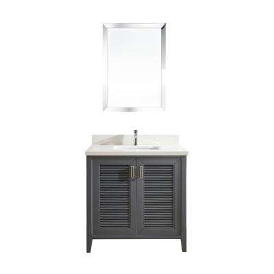 Aurora 36 in. W x 22 in. D Vanity in Pepper Gray with Quartz Vanity Top in White with White Basin and Mirror