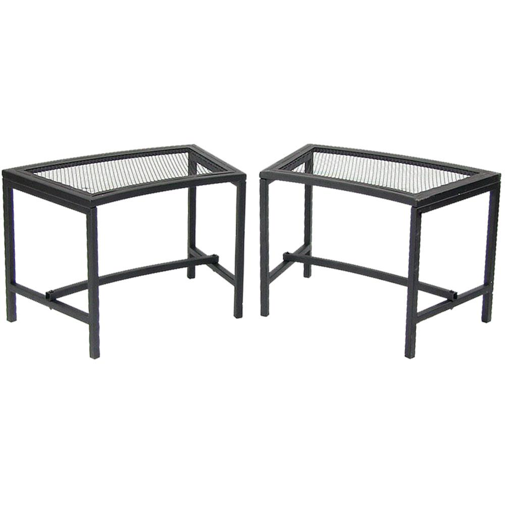 Sunnydaze Decor 23 In. X 16 In. Black Metal Mesh Fire Pit Outdoor Bench