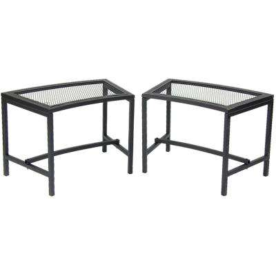 23 in. x 16 in. Black Metal Mesh Fire Pit Outdoor Bench (Set of 2)