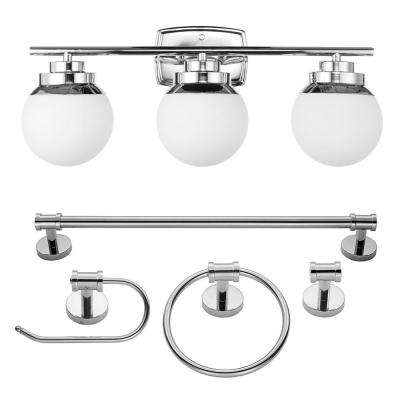 24 in. 5-Piece Bath in a Box Chrome Vanity Light with Frosted Glass Shades
