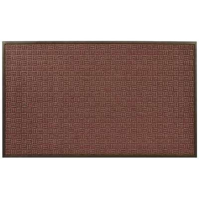 Portrait Burgundy 36 in. x 120 in. Rubber-Backed Entrance Mat