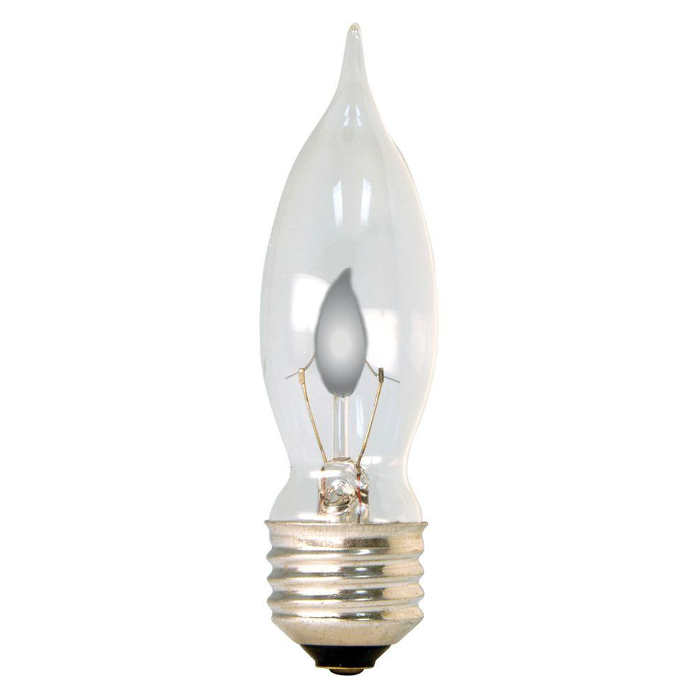 GE 3-Watt Incandescent CA10 Bent Tip Clear Flicker Flame Light Bulb