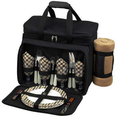 Deluxe Picnic Cooler with Blanket Equipped for 4 in Black and London