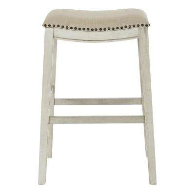 Saddle Stool 30 in. Beige Fabric and Antique White Base (2-Pack)