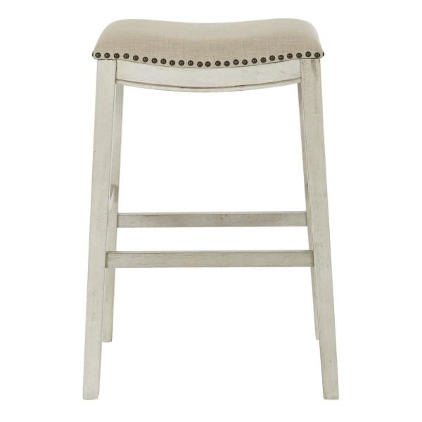 OSP Home Furnishings Saddle Stool 30 in. Beige Fabric and Antique