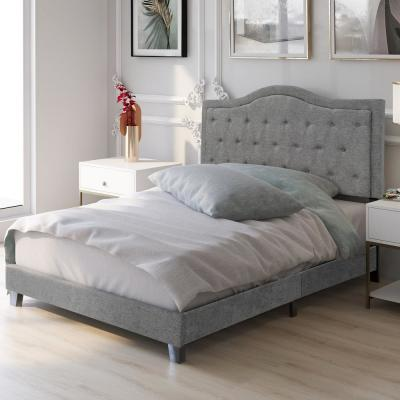 Gray Queen Classic Style Upholstered Linen Bed