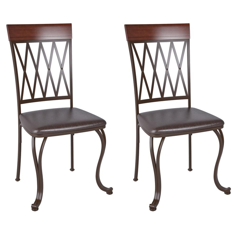 Corliving Jericho Metal Dining Chair With Dark Brown Bonded Leather Seats Set Of 2