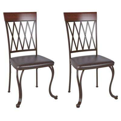 Jericho Metal Dining Chair with Dark Brown Bonded Leather Seats (Set of 2)