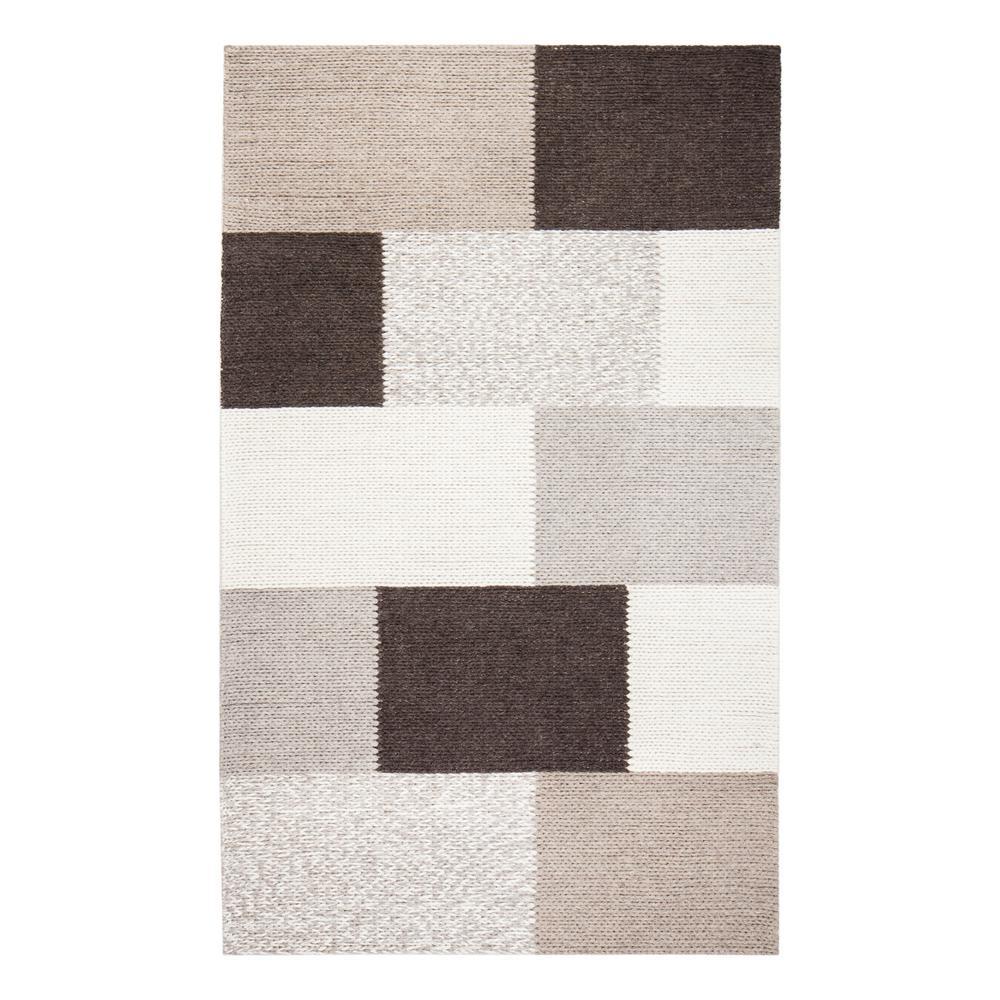 Rhea Tiled Brown 5 ft. x 8 ft. Wool-Blend Area Rug