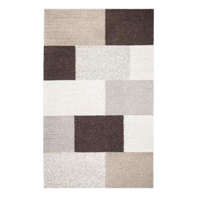 Rhea Tiled Brown 8 ft. x 10 ft. Wool-Blend Area Rug